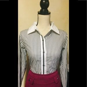 Pink Tartan Other - Outfit: Gray Striped Button Up w/Pink Pencil Skirt